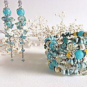 Украшения handmade. Livemaster - original item Bracelet made of pearls, larimar, amazonite, quartz and agate. Handmade.