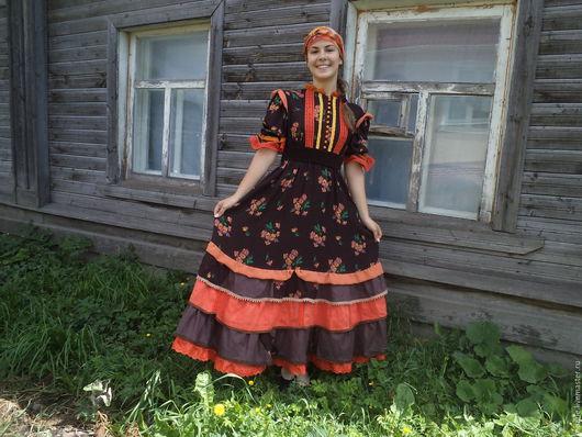 """Этническая одежда ручной работы. Ярмарка Мастеров - ручная работа. Купить платье """"Кубелёк"""". Handmade. Коричневый, лён 100%"""