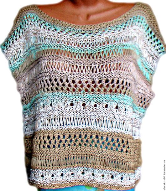 Кофты и свитера ручной работы. Ярмарка Мастеров - ручная работа. Купить майка вязаная бохо. Handmade. Майка летняя, хлопок