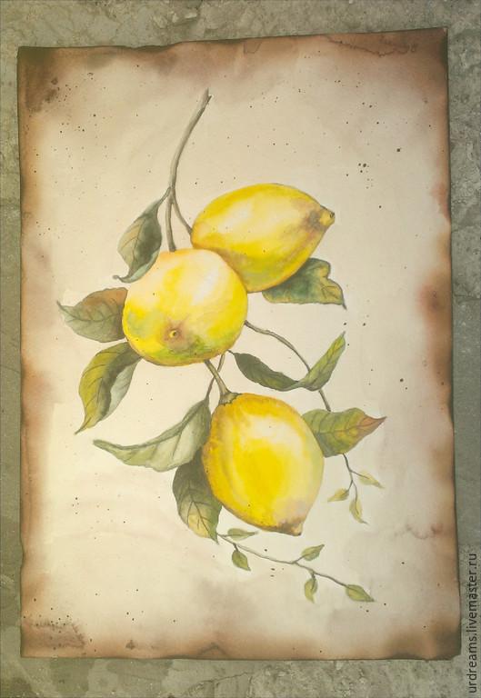 """Натюрморт ручной работы. Ярмарка Мастеров - ручная работа. Купить Акварель в старинном стиле """"Лимоны на ветке"""". Handmade. Разноцветный"""
