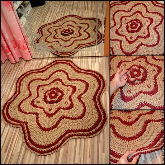 """Текстиль, ковры ручной работы. Ярмарка Мастеров - ручная работа. Купить Ковер """"Цветок в доме"""". Handmade. Бордовый, ковер вязаный"""