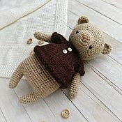 Куклы и игрушки handmade. Livemaster - original item Bear crocheted in a brown blouse. Handmade.