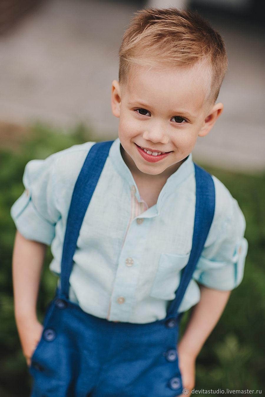 Одежда для мальчиков, ручной работы. Ярмарка Мастеров - ручная работа. Купить Голубая Льняная рубашка для мальчика. Handmade. Лето, пуговицы