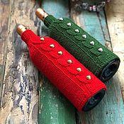 Новогодний носок ручной работы. Ярмарка Мастеров - ручная работа Пара свитеров на бутылки с золотыми и серебряными бусинами «Рождество». Handmade.