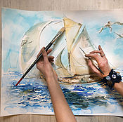 Картины и панно handmade. Livemaster - original item Watercolor Sea Dreams. Handmade.