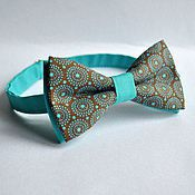 Аксессуары handmade. Livemaster - original item Tie Retro circles / brown butterfly with turquoise pattern. Handmade.