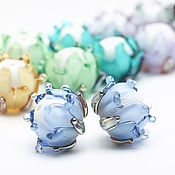 Бусины ручной работы. Ярмарка Мастеров - ручная работа Бусины бутоны лэмпворк с серебром круглые разные цвета. Handmade.