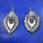 Украшения handmade. Livemaster - original item Black leather earrings Painted feathers. Handmade.