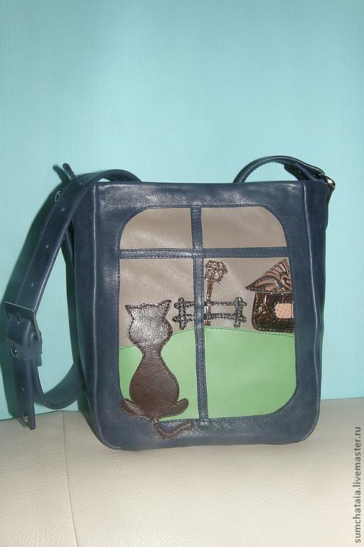 Bag leather 'Cat landscape', Classic Bag, Yaroslavl,  Фото №1