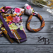 Украшения ручной работы. Ярмарка Мастеров - ручная работа Оплетенный бисером шарф Изабель. Handmade.