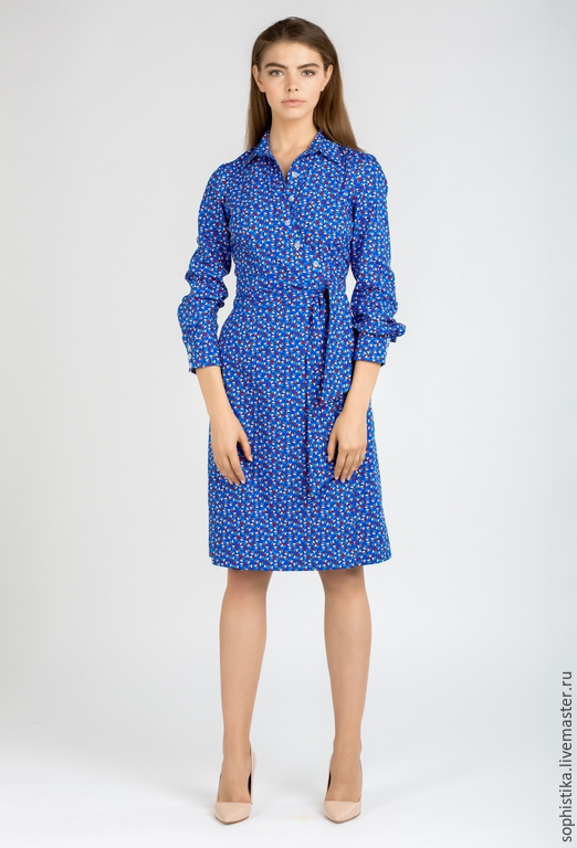 Платья ручной работы. Ярмарка Мастеров - ручная работа. Купить Хлопковое платье с запахом. Handmade. Синий, приталенное, платье с принтом