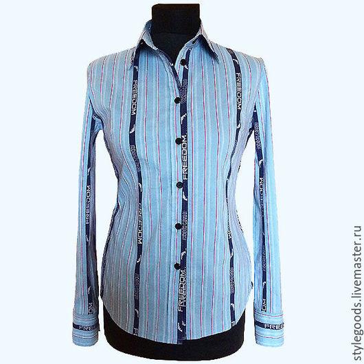Блузки ручной работы. Ярмарка Мастеров - ручная работа. Купить Женская рубашка из оригинального хлопка Roberto Cavalli. Handmade. Голубой