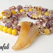 Украшения handmade. Livemaster - original item Long necklace with agate and suspension. Handmade.