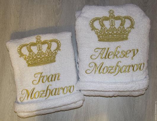 Халаты ручной работы. Ярмарка Мастеров - ручная работа. Купить Махровый халат с именной вышивкой. Handmade. Комбинированный, халат