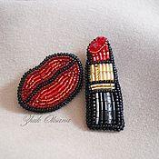 Украшения handmade. Livemaster - original item Lips and lipstick Embroidered beaded brooch Red black gold. Handmade.