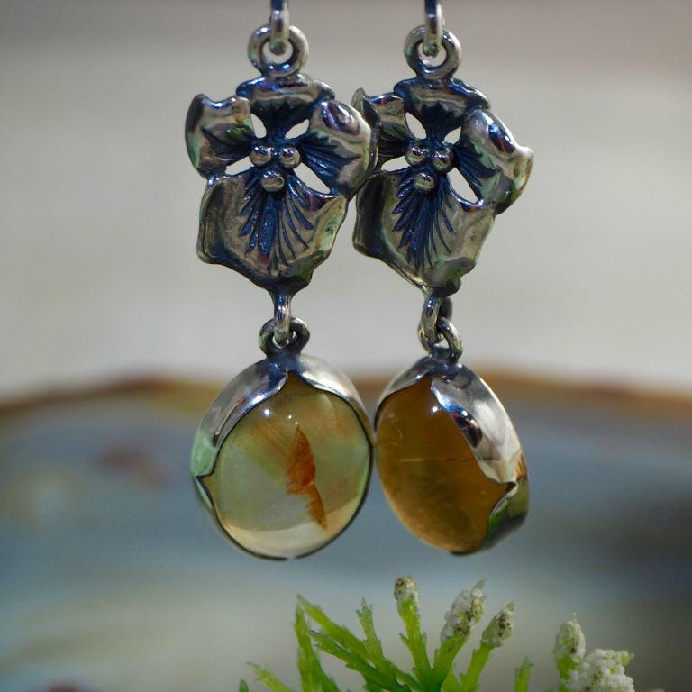Silver, citrine: earrings ' Sunbeams', Earrings, Prague,  Фото №1