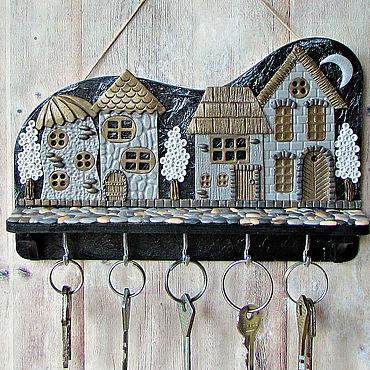 For home and interior handmade. Livemaster - original item Housekeeper Night City 4.The housekeeper wall. decor polymer clay.. Handmade.