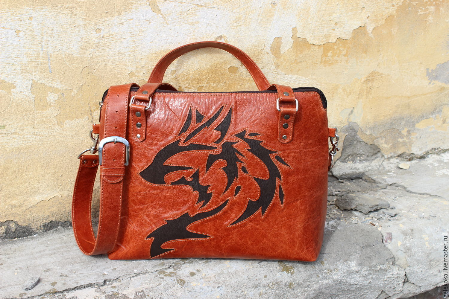 Bag from a genuine leather with reverse applique u shop online on