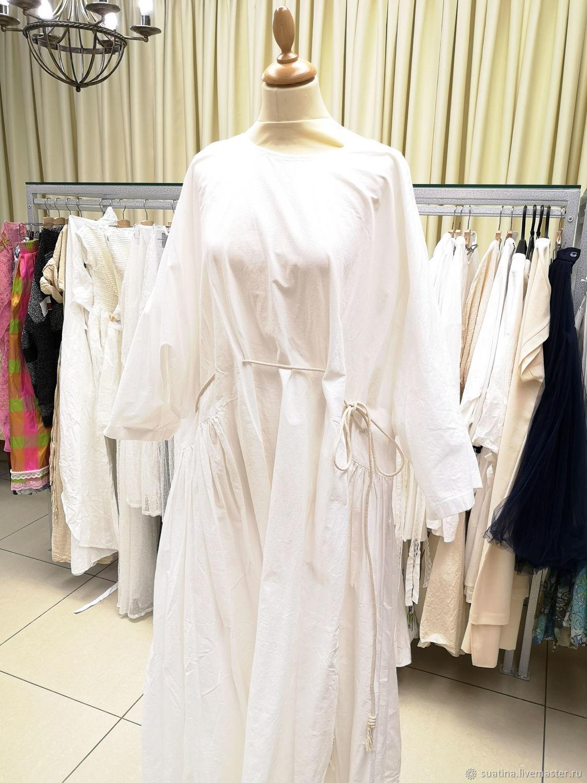Дизайнерское платье белое с веревочным поясом, Платья, Пермь,  Фото №1