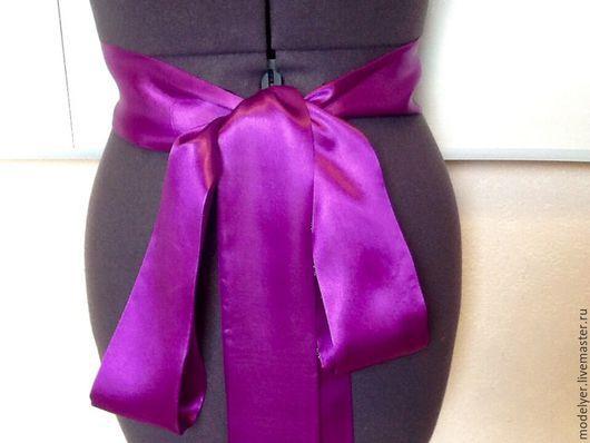 Одежда и аксессуары ручной работы. Ярмарка Мастеров - ручная работа. Купить Пояс длинный атласный/ Purple , атлас. Handmade. Фиолетовый