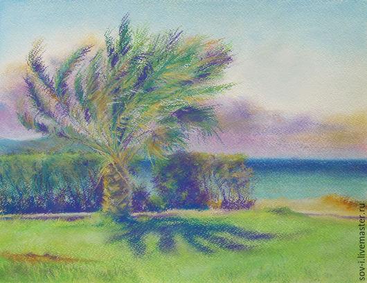 Пейзаж ручной работы. Ярмарка Мастеров - ручная работа. Купить Пальма. Handmade. Комбинированный, пальмы, морской пейзаж, пейзаж с пальмами