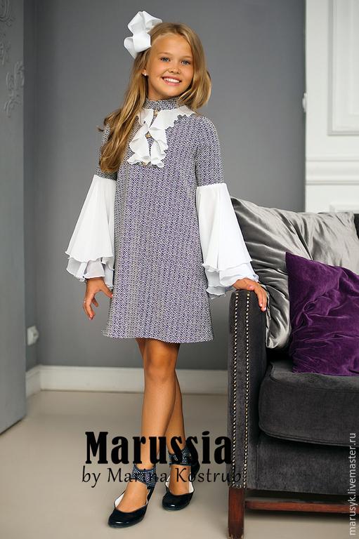 Одежда для девочек, ручной работы. Ярмарка Мастеров - ручная работа. Купить ПЛАТЬЕ-ЛАСТОЧКА. Handmade. Чёрно-белый, платье в школу