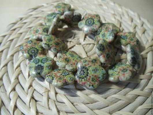 Для украшений ручной работы. Ярмарка Мастеров - ручная работа. Купить Бусины цветочки из синтетической бирюзы. Handmade. Комбинированный