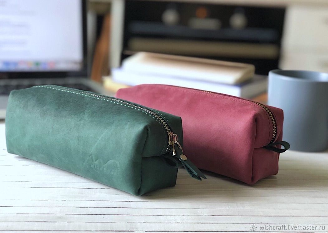 Пеналы ручной работы. Ярмарка Мастеров - ручная работа. Купить Пенал из натуральной кожи Pencil cases / Pink/ Green. Handmade.