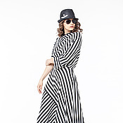 Одежда handmade. Livemaster - original item АГ_007 asymmetric Dress with pockets black white stripe. Handmade.