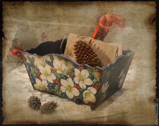 """Корзины, коробы ручной работы. Ярмарка Мастеров - ручная работа. Купить Короб """"Морозник"""". Handmade. Хаки, деревянная заготовка"""