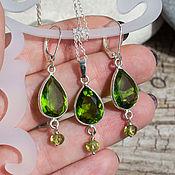 Украшения handmade. Livemaster - original item Earrings and pendant with chrysolite