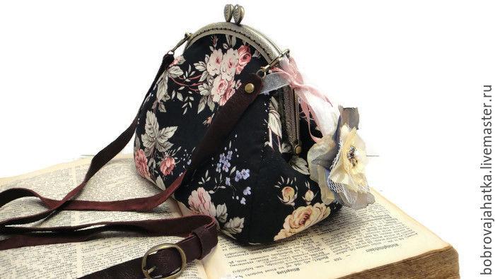 Черная сумка с цветами фермуар Съемный кожаный ремень Розовые розы, Косметички, Тверь, Фото №1