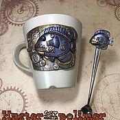 """Подарочные боксы ручной работы. Ярмарка Мастеров - ручная работа Подарочный набор """"На дне речном! """" Чашка+ложка, стиль Стимпанк. Handmade."""