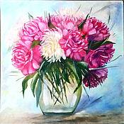Картины и панно handmade. Livemaster - original item Painting Flowers in a Vase still life oil Flowers Glitter peonies. Handmade.