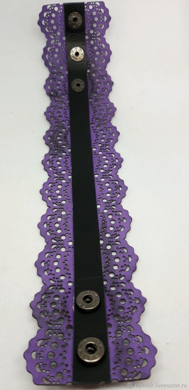 Женский кожаный браслет. Кружево. Фиолетовый