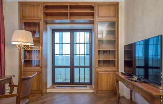 шкафы книжные, мебель на заказ для кабинета из дерева: шкаф, библиотека, стеллаж, стол письменный, кресло ,консоль, столик журнальный