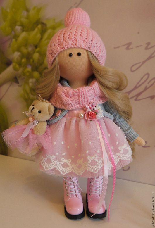 Коллекционные куклы ручной работы. Ярмарка Мастеров - ручная работа. Купить Текстильная куколка-малышка Милочка. Handmade. Бледно-розовый