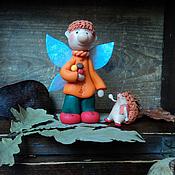 """Для дома и интерьера ручной работы. Ярмарка Мастеров - ручная работа Фигурка """"Грибной фей и его ежик"""". Handmade."""