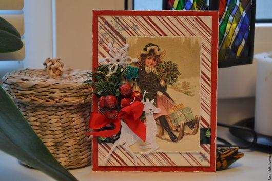 Открытки к Новому году ручной работы. Ярмарка Мастеров - ручная работа. Купить Новогодняя карточка-открытка. Handmade.