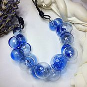 Украшения manualidades. Livemaster - hecho a mano Collar azul de soplado de cuentas .Lempvork. Handmade.
