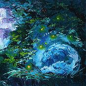"""Картины и панно ручной работы. Ярмарка Мастеров - ручная работа Картина маслом """"Сонный лес"""". Handmade."""
