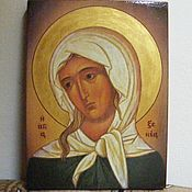 Картины и панно handmade. Livemaster - original item St. Xenia - hand-written icon of hot colors directly on the wood. Handmade.