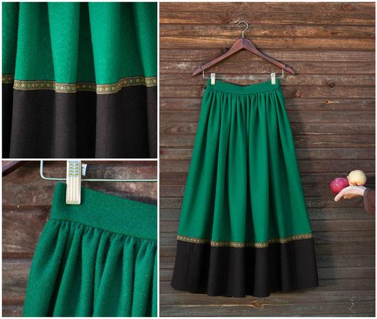 """Юбки ручной работы. Ярмарка Мастеров - ручная работа. Купить Длинная юбка """"лесная"""", шерстяная. Handmade. Юбка, шерсть"""