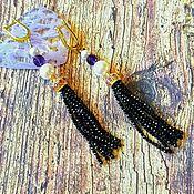 Украшения handmade. Livemaster - original item Earrings: black spinel tassels with natural amethysts and pearls. Handmade.