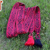 Русский стиль handmade. Livemaster - original item Belt Radovic black and red with scalloped border. Handmade.