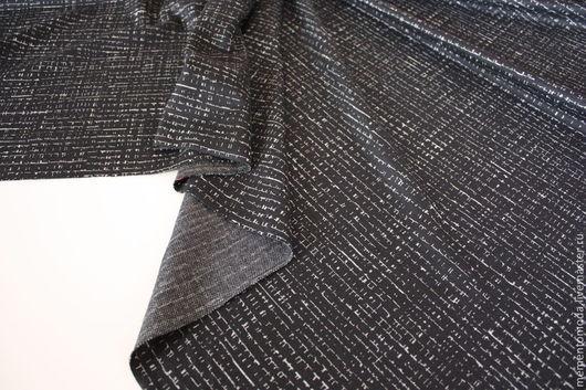 """Шитье ручной работы. Ярмарка Мастеров - ручная работа. Купить Трикотаж джерси  """"Штрихи на черном"""". Handmade. Черный, итальянские ткани"""