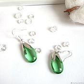 Украшения handmade. Livemaster - original item Earrings Silver Drops Rainbow Colored Glass Green Transparent. Handmade.