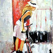 Картины и панно ручной работы. Ярмарка Мастеров - ручная работа Картина мастихином - девушка и велосипед. Handmade.
