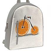 Сумки и аксессуары ручной работы. Ярмарка Мастеров - ручная работа Кожаный Рюкзак Оранжевый велосипед. Handmade.