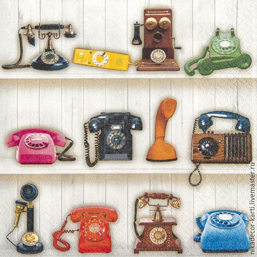 Декупаж и роспись ручной работы. Ярмарка Мастеров - ручная работа. Купить Звонок по телефону (211531) - салфетка для декупажа. Handmade. Разноцветный